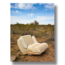 Photo of a reclining chair on its back in the Sonoran Desert by Jim Witkowski.